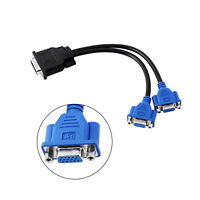 Video Card DMS-59 Pin to 2 Dual VGA 15 Pin Splitter Cable Adapter Connector
