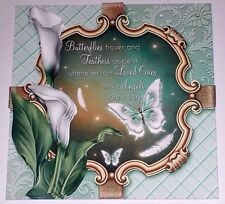 Handmade Greeting Card 3D Sympathy With Calla Lilies And Butterflies