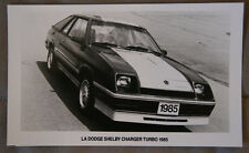 DODGE SHELBY CHARGER TURBO 1985 Official Photo - French - Canada - ST501001117