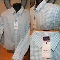 NWT Mens UntuckIT Long Sleeve Button Roussillon Gingham Blue Green Shirt Size L