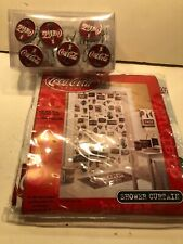 Hard To Find New Coke Coca-Cola Shower Curtain and Curtain Hooks; Ready to Go!