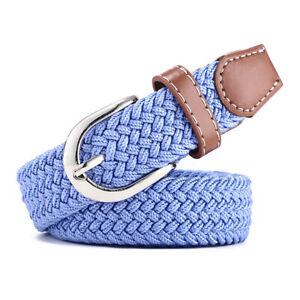 Women Skinny Crochet Knitted Woven Stripe Belts Waistband Canvas Stretchy Belt