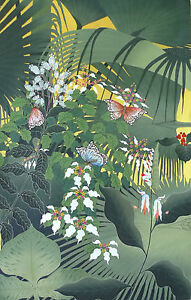 Hand painting Balinese Bali Butterfly Tropical Forest 184