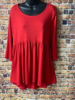 PLUS SIZE RUBY RED BOHO BABYDOLL 3/4 SLEEVE TUNIC TOP XL 1X 2X 3X