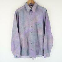 Vintage 90S abstract crazy print festival shirt long sleeve SZ MEDIUM (E4862)