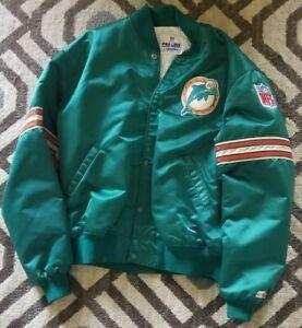 Miami Dolphins 80s 90s Starter NFL Satin Teal Aqua Green  Coat Jacket Mens XL
