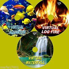 VIRTUAL WATERFALL, AQUARIUM & LOG FIRE 3 RELAXING DVD SET 4 FLATSCREEN TV/PC NEW