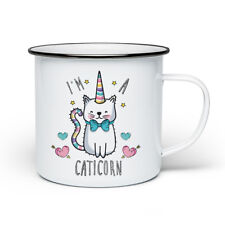 I'm A Caticorn Retro Enamel Mug Cup - Crazy Cat Lady Unicorn Funny