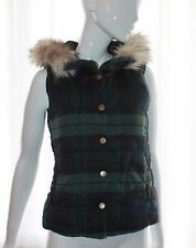 River Island Black Green Check Faux Fur Leather Hooded Gilet Bodywarmer UK 6 - 8