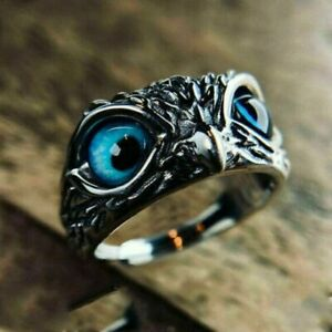 Fashion 925 Silver Blue Eye Owl Ring Women Jewelry Animal Rings Adjustable Gift