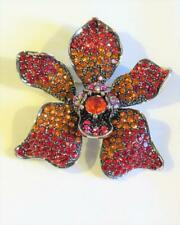 CG6410...RED ORCHID - RHINESTONES - BROOCH or PENDANT - FREE UK P&P