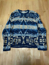 Denim and Supply Ralph Lauren Blue Aztec Henley Knit Sweater size XL