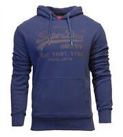 Superdry Mens New Vintage Logo Shirt Shop Bonded Hoodie Overhead Sweatshirt Navy