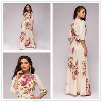 Womens Summer Vestidos De Festa Hot Sale O-neck Half Lantern Sleeve Long Dresses