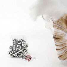 Authentic 925 Sterling Silver Alphabet Vintage Letter R, European Bracelet Charm