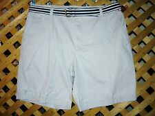 Mens IZOD Gray Cotton Shorts W/ Belt Size 38 Waist / Actual 40 NEW!