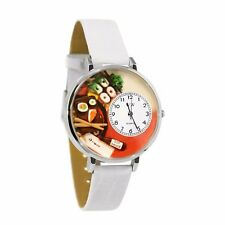 Whimsical Watches Women's Sushi White Leather Watch in Silver (Large)