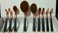 New Golf pipe Shape Rosegold & Black Pro 9 Piece Big Oval Makeup Brush Set Boxed