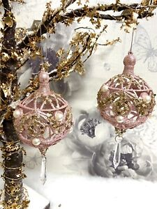 X1 Christmas Tree Decoration Hanging Blush Pink Dtoplet Glitter Ornament Bauble