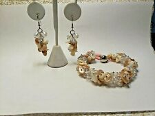 NATURAL SHELL , CLEAR BEADS, STAINLESS STEEL EARRINGS & BRACELET -  8