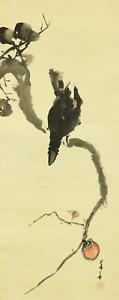 橋本菱華 HASHIMOTO RYOKA Japanese hanging scroll / CROW ON PERSIMMON TREE Box I928