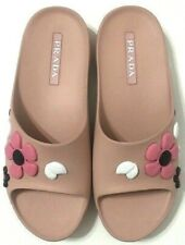 Prada Slides Flower Sandals Pink Rubber Slip On Womens Size EU39.5/US9.5