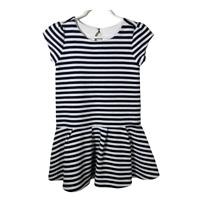 Gymboree Girls Dress Size 5 Short Sleeves Peplum Textured Striped Stretch Kids