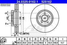 2x Bremsscheibe für Bremsanlage Vorderachse ATE 24.0325-0162.1