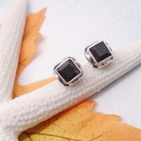 Onyx schwarz eckig gothic Design Ohrringe Ohrstecker 925 Sterling Silber neu
