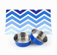 Stay on Dog Dinnerware Set – Includes 2 bowls with Placemat – Blue