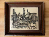 """""""Chicago Land"""" 1976 Man Made Marble Engraving By Dennis Bivens  Preowned"""