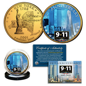 World Trade Center 20th ANNIVERSARY 9/11 24K Gold Plated NY State Quarter Coin