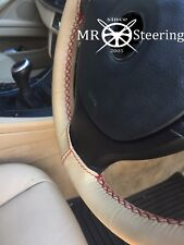 FOR FORD COUGAR 98-02 BEIGE LEATHER STEERING WHEEL COVER DARK RED DOUBLE STITCH