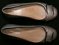 "Women's Shoes Sz 5 B Coach New York Ballet Flats Buckle 1/2"" Heels Eur 35 Silver"