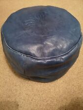 Blue Genuine Leather Pouffe Moroccan Handmade New