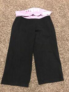 victoria secret pink yoga womens L cotton blend capris black pink b5