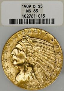 1909-D $5 NGC MS63 Indian Head Gold Half Eagle - Old Fatty Holder