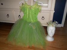 Disney Fairies Tinkerbell Dress Costume Wand Tiara Girl's Size 10-12