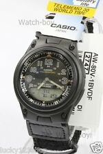 AW-80V-1B Casio Watch 10-Year Battery 50m Analog Digital Nylon Cloth Band Men's