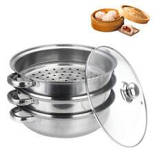 1/2/3 Tier Stainless Steel Steamer Pot Set Hob Kitchen Food Cookware Cooker