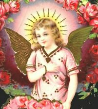Post Card c1900's Beautiful Girl With Angle Wings Holding Heart Of Roses Pa A5