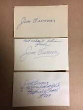 3 Jim Turner Signed Index Cards/Cut Red Sox/NY Yankees JSA Precertified**