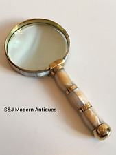 Antique Magnifying Glass X10 Vintage Brass Large Desk Reading Mother of Pearl