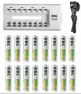 EBL Battery Charger For AA/AAA 800 /1100 /2300 /2800 mAh Rechargeable Batteries