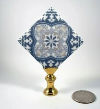 Lamp Finial Blue and White Porcelain Tile Square Blue Back Lampshade Finial 44H