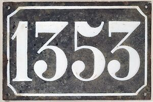 Large old black French house number 1353 door gate plate enamel metal sign