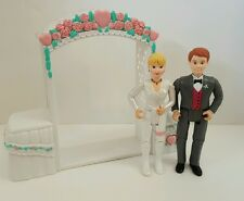 Fisher Price Loving Family Dollhouse Wedding Bride and Groom Lot Man Woman Arch