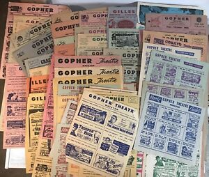 Vintage Huge 75 + Lot of Small Town Minnesota Movie Theater Flyers 1950's