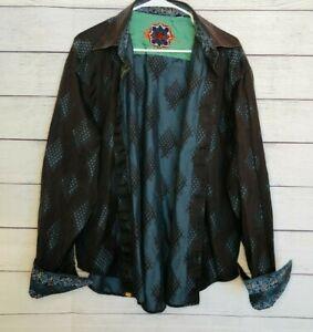 Robert Graham Men's Flip Cuff Button Up Shirt Black Blue Size: 2XL