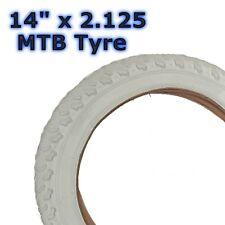 "1x White 14"" x 2.125 (57-254) MTB Childrens Girls Kids Bicycle Tyre"